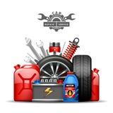 Иллюстрация объявления состава обслуживания автомобиля плоская Стоковые Фотографии RF