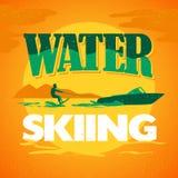 Иллюстрация логотипа катания на водных лыжах вектора плоская Стоковая Фотография RF