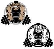 Иллюстрация логотипа спортзала фитнеса мышцы поднятия тяжестей иллюстрация вектора