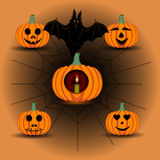 Иллюстрация логотипа для желтой тыквы хеллоуина иллюстрация штока