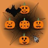 Иллюстрация логотипа для желтой тыквы хеллоуина Стоковое Фото