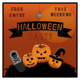 Иллюстрация логотипа для желтой тыквы хеллоуина Стоковое фото RF