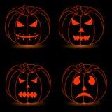 Иллюстрация логотипа для желтой тыквы хеллоуина Стоковое Изображение