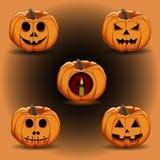 Иллюстрация логотипа для желтой тыквы хеллоуина Стоковая Фотография RF