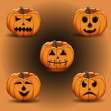 Иллюстрация логотипа для желтой тыквы хеллоуина Стоковое Изображение RF