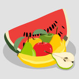 Иллюстрация логотипа для комплекта плодоовощ иллюстрация штока