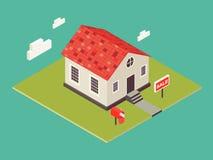 Иллюстрация дома в равновеликом стиле 3d Частный значок недвижимости дома для продажи Американский малый коттедж Стоковое Изображение RF