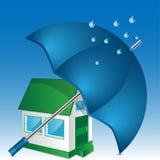 Иллюстрация дома и зонтика Стоковые Изображения