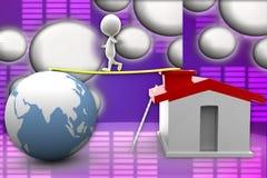 иллюстрация дома 3d и земли Стоковое Изображение RF