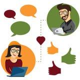 иллюстрация онлайн значков app человека и женщины датировка внутри иллюстрация вектора