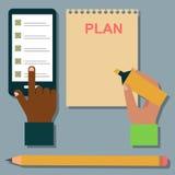 Иллюстрация организатора плановика напоминания работы плана примечания дела повестки дня тетради вектора иллюстрация штока