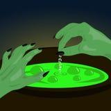 Иллюстрация от первой персоны заваривает ведьму зелья Стоковые Фото