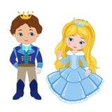 Иллюстрация очень милого принца и принцессы Стоковое Изображение
