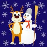 Иллюстрация олени и снеговик Стоковая Фотография
