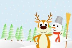 Иллюстрация олени и снеговик Стоковое Изображение RF