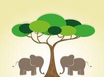 Иллюстрация одичалых слонов и дерева Стоковое фото RF