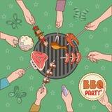 Иллюстрация ПАРТИИ BBQ Стоковые Изображения RF