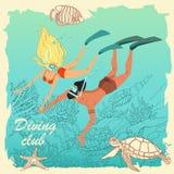 Иллюстрация пар водолазов Красочные характеры в стиле шаржа бесплатная иллюстрация