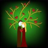 Иллюстрация пар под деревом иллюстрация штока