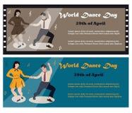 Иллюстрация пар танцев качания для мира танцует день Стоковые Фотографии RF