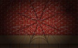 Иллюстрация паутины вектор На кирпичной стене как предпосылка Стоковые Изображения