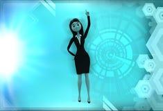 иллюстрация пальца повышения женщины 3d Стоковые Фотографии RF