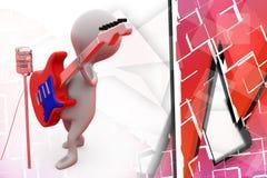 иллюстрация певицы человека 3d Стоковая Фотография RF