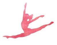 Иллюстрация перескакивания гимнаста танца танцора акварели розовой разделенная гимнастикой Стоковое Изображение