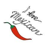 иллюстрация Перец Chili Я люблю мексиканца Стоковое Изображение RF