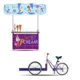 Иллюстрация передвижного вектора велосипеда мороженого плоская Стоковые Изображения