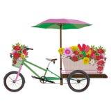 Иллюстрация передвижного вектора велосипеда цветка плоская Стоковое Изображение