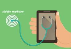 Иллюстрация передвижной медицины схематическая Удаленная концепция медицинского обеспечения Стоковое Изображение RF