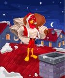 иллюстрация петуха - Санта Клаус Стоковая Фотография RF