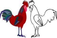 Иллюстрация 2 петухов Стоковое Изображение RF