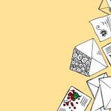 Иллюстрация писем и конвертов Предпосылка лист с сочинительством бесплатная иллюстрация