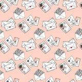 Иллюстрация писем и конвертов Романтичные сообщения картина безшовная Стоковое Изображение