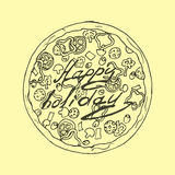 иллюстрация Пицца в винтажном стиле счастливый праздник Стоковое фото RF