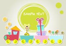 Иллюстрация поезда детей с жирафом и подарком иллюстрация штока