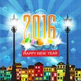 Иллюстрация поздравительной открытки Нового Года стиля шаржа красочной карточки Новогодней ночи ретро Стоковые Фотографии RF