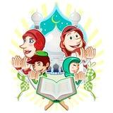 Иллюстрация поздравительной открытки Eid Mubarak ислама Стоковые Изображения RF