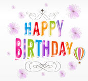иллюстрация поздравительой открытки ко дню рождения счастливая Стоковая Фотография
