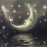 Иллюстрация показывает девушку которая восхищает небо звезды Стоковое Фото