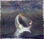 Иллюстрация показывает девушку которая восхищает небо звезды бесплатная иллюстрация