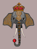 Иллюстрация покрасила слона в кроне, слоне цирка Стоковое фото RF