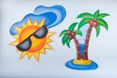 Иллюстрация покрашенная гуашью Солнце в изумлённых взглядах, облаке и ладони на белой предпосылке Стоковые Фото