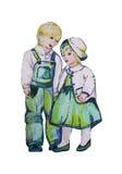 Иллюстрация покрашенная рукой 2 детей близнецы Мальчик и девушка Стоковое фото RF