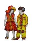 Иллюстрация покрашенная рукой 2 детей близнецы Мальчик и девушка Стоковые Изображения RF