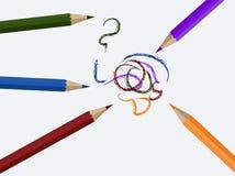 Иллюстрация покрашенных карандашей на предпосылке холста Стоковая Фотография RF