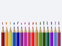Иллюстрация покрашенных карандашей на предпосылке холста Стоковые Изображения