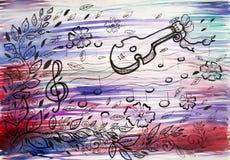 Иллюстрация потехи листьев и музыки Стоковое Изображение